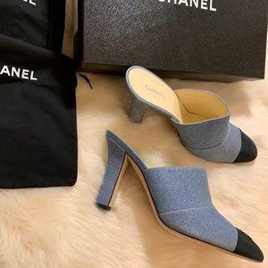 NEW Chanel Mules 35 Slides Sandal Shoes Blue Black